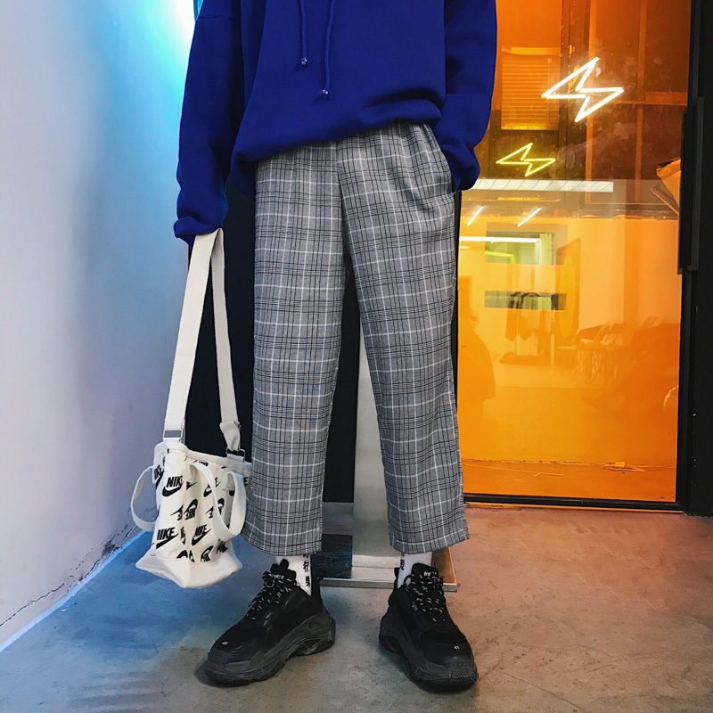 Genossenschaft 2018 Männer Fashion Plaid Druck Baumwolle Casual Hosen Gerade Jugend Pop Hohe Qualität Lose Hosen Jogger Jogginghose M-xl Guter Geschmack