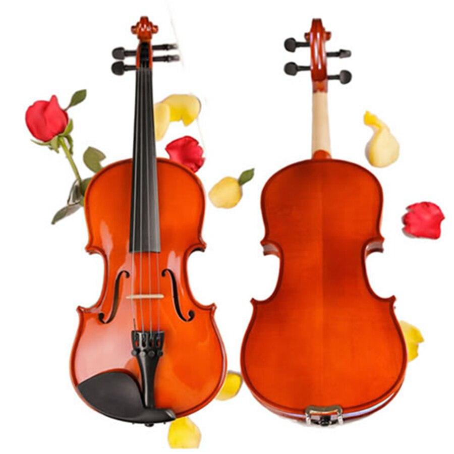 Touche en bois massif violon artisanat mat Violino Instrument de musique + étui + arc + colophane + muet pour la marque de débutant