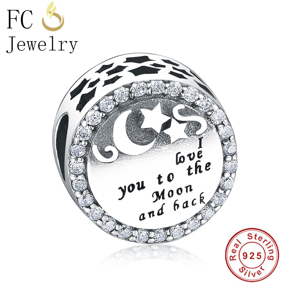 FC Jewelry Fit Original Pandora Charms Bracelet 925 Silver Letter I love you to The Moon and Back Beads for DIY Making Berloque