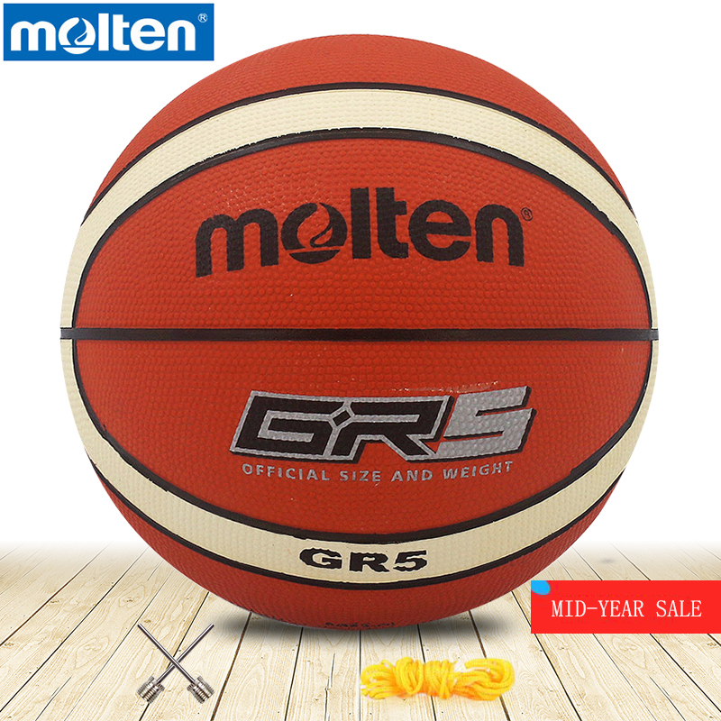 Original Molten Basketball Ball GR5-OI  High Quality Genuine Molten Rubber Material Official Size5 Free With Net Bag+ Needle