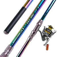 Fashion High Quality Carbon Fishing Set Hard Long Sea Pole Telescopic Fish Rod Throwing Power Hand Rod with Reel 3.6 4.5m