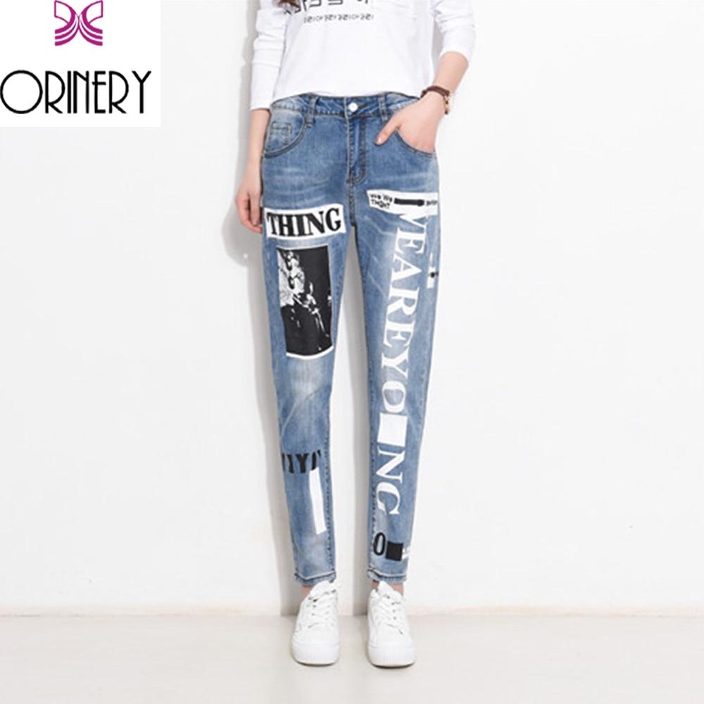 ФОТО ORINERY Women Jeans femme Plus Size Vintage Female 2017 Ladies Blue Harem Pattern Denim Jeans Pants Straight Casual Trousers