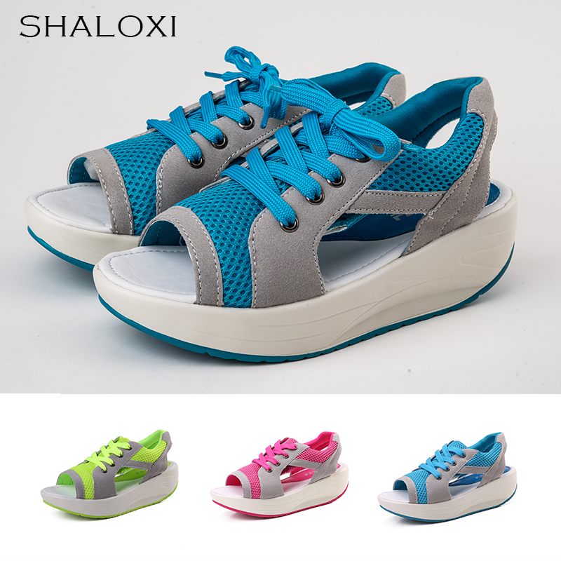 SHALOXI Women Platform Sandals Casual Sandals 2017 Summer Lace Mesh Breathable Wedge Shoes For Women Girls Femme Sandale 2717 summer women shoes casual cutouts lace canvas shoes hollow floral breathable platform flat shoe sapato feminino lace sandals
