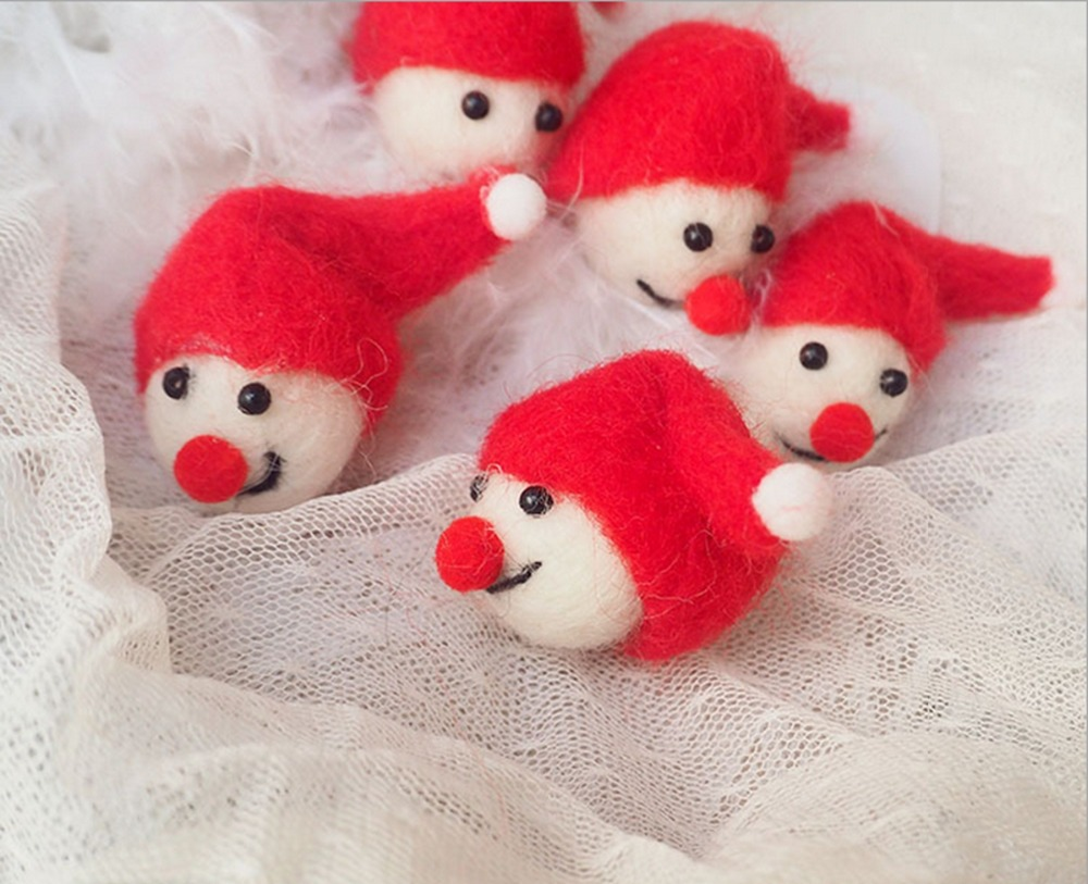 Wool felt ornaments - Pinjeas Christmas Day Wool Felt Ball Decor Classroom Bedroom Wall 10pc 6cm Diy Handmade Children