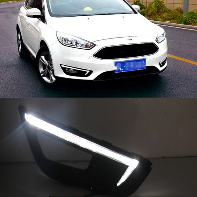 Car Flashing 1pair For Ford Focus 4 2017 2016 Led Drl Daytime Running Lights Daylight Fog Light With Yellow Turn Signal