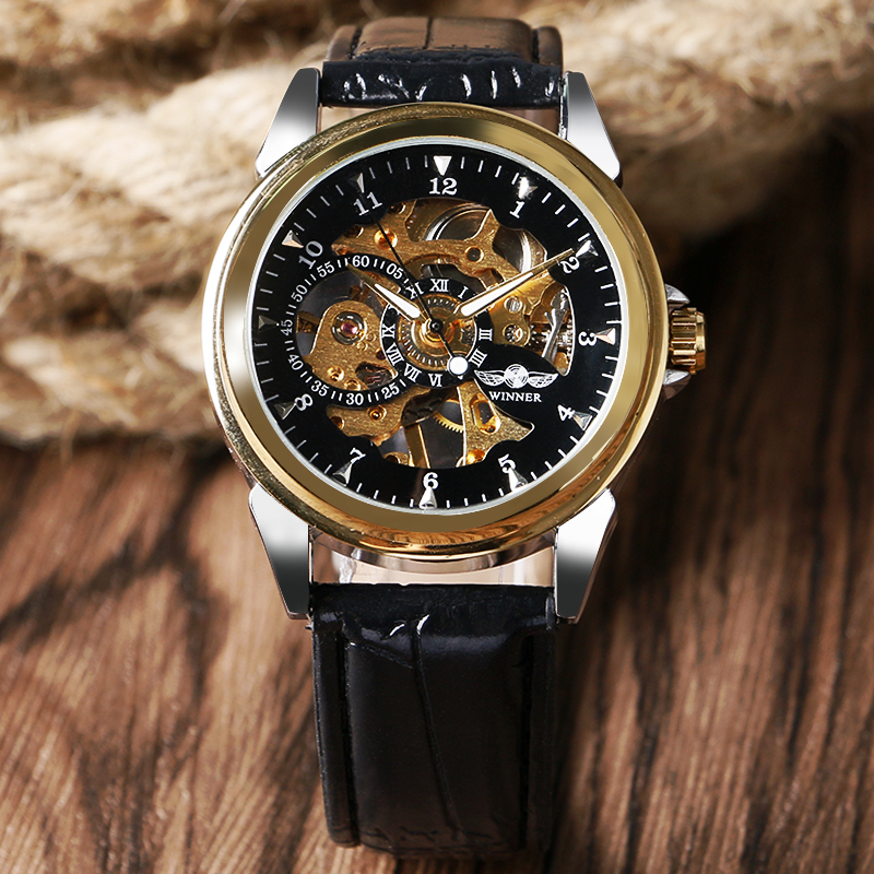New Brand WINNER Luxury Gold Round Dial  Wristwatch Black Leather Band Strap Fashion Mechanical  Hand Wind Men Watch