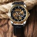 Nueva Marca! Lujo de Oro Ronda Dial Negro Reloj de pulsera Banda de Cuero Correa de Moda Mecánico de la Mano del Viento Reloj de Los Hombres