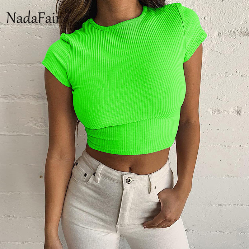 Nadafair Neon Green Short Sleeve T Shirt Women O Neck Casual Red Ribbed Cropped Top 2019 Summer Black Short Tank Top Female