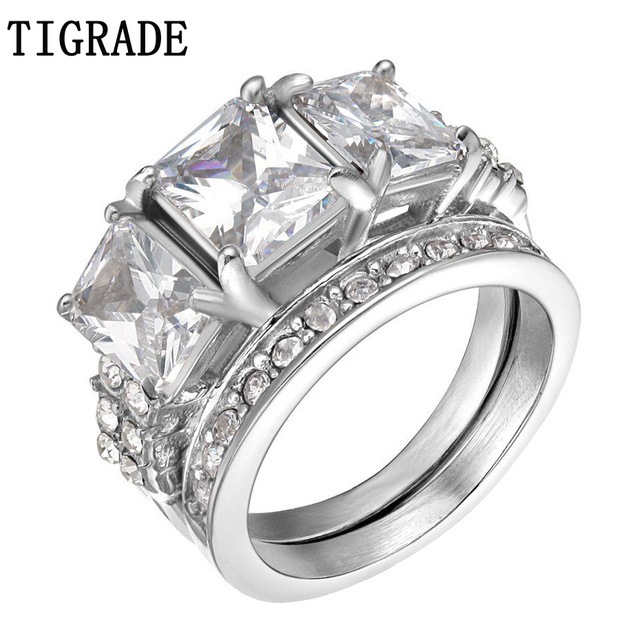 TIGRADE Gold Silver Stainless Steel Ring Set Women Paved Cubic Zircon Crystal Jewelry Romantic Engagement Wedding Rings Anel tl unique engagement wedding ring set women s pair rings stainless steel double ring set for women bridal with large rhinestone