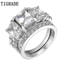 цены TIGRADE 2pcs Gold Stainless Steel Ring Set Women Paved Zircon Crystal Bridal Jewelry Romantic Engagement Wedding Rings Anel Sale