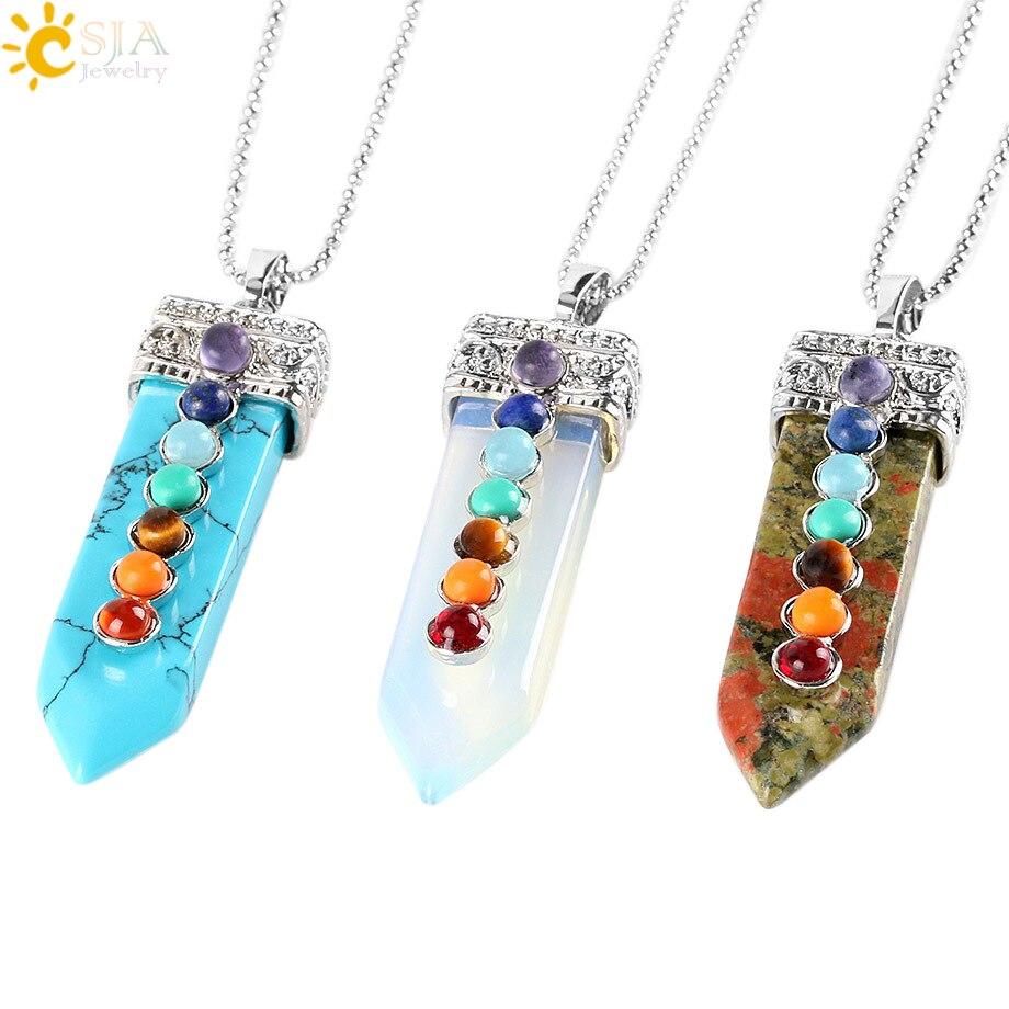 CSJA Natural Round Gem Stone Beads 7 Chakra Necklace Pendants Sword Pendulum Charm Healing Reiki Woman Men Yoga Jewellery E332 jewellery