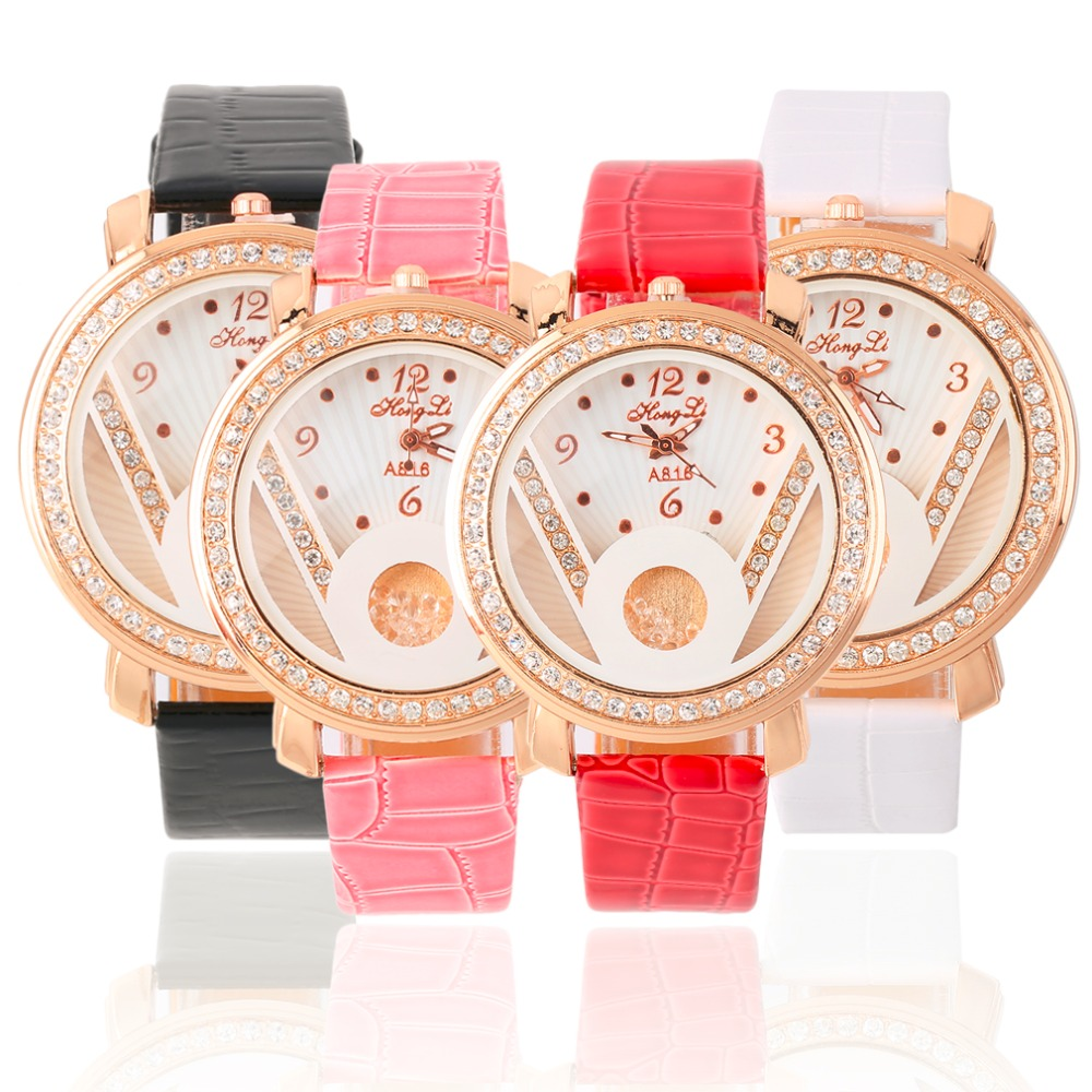 Fashion Women Crystal Quartz Analog PU Leather Strap Wrist Watch Gift with Red, Pink, White, Black color Luxury Sport Relogio fashion dress watch elegant crystal dial red faux leather band strap blink quartz analog casual lady women wrist watch stylish
