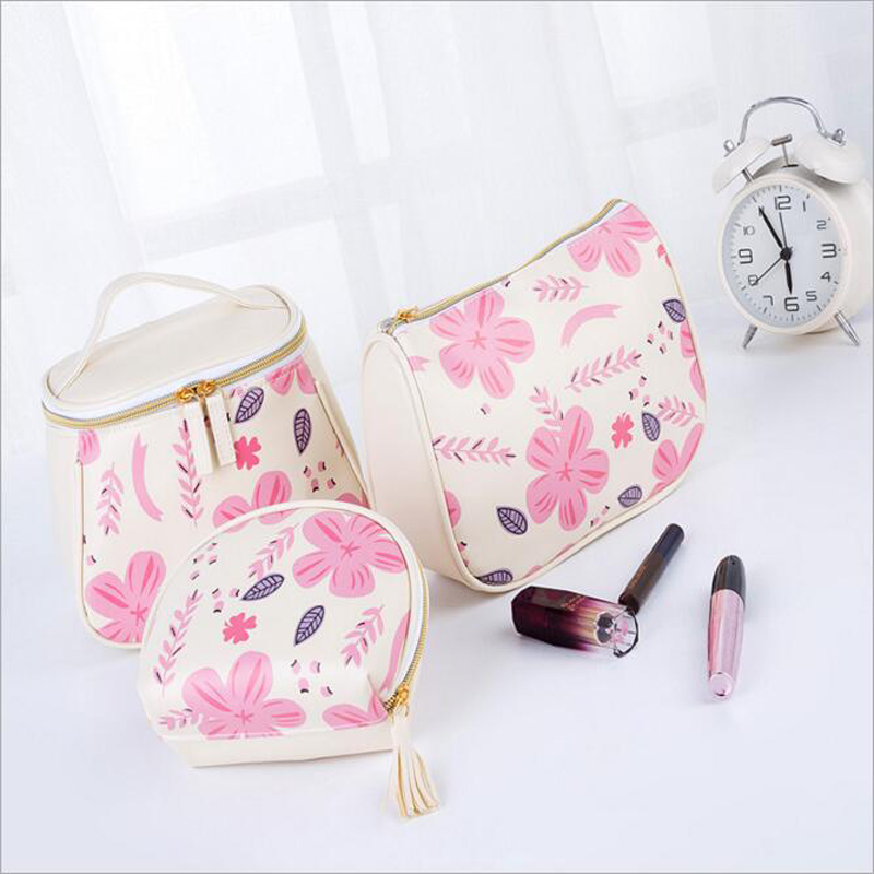 Fashion Floral Printed Women Cosmetic Bag Zipper Waterproof Flamingo Portable Storage Travel Wash Neceser Lady Makeup Bag Small