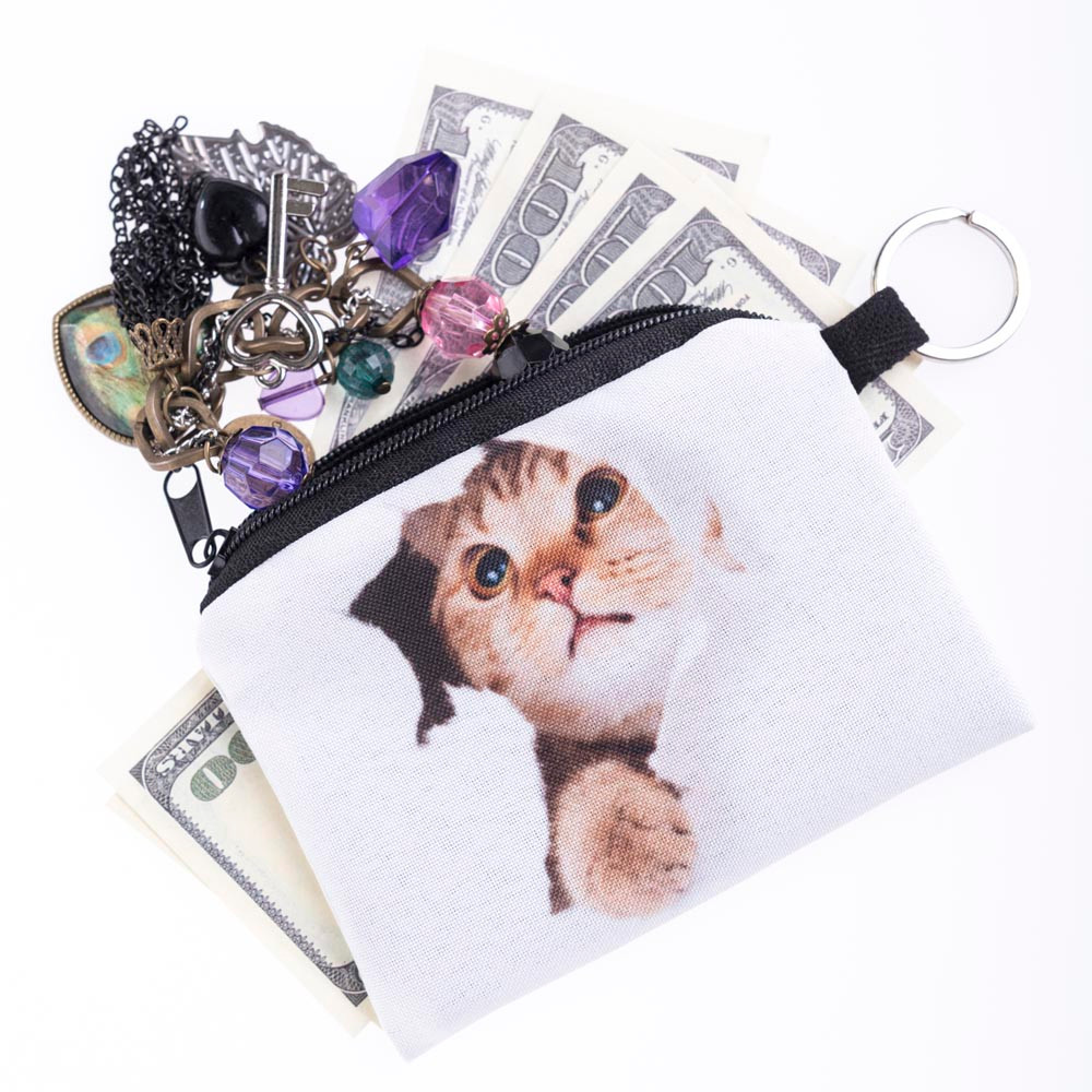 New Cute Cat Face Zipper Case Coin Purse Female Girl Printing Coins Change Child Purse Makeup Bag Clutch Wallet Phone Key Bags Cheapest Price From Our Site Coin Purses