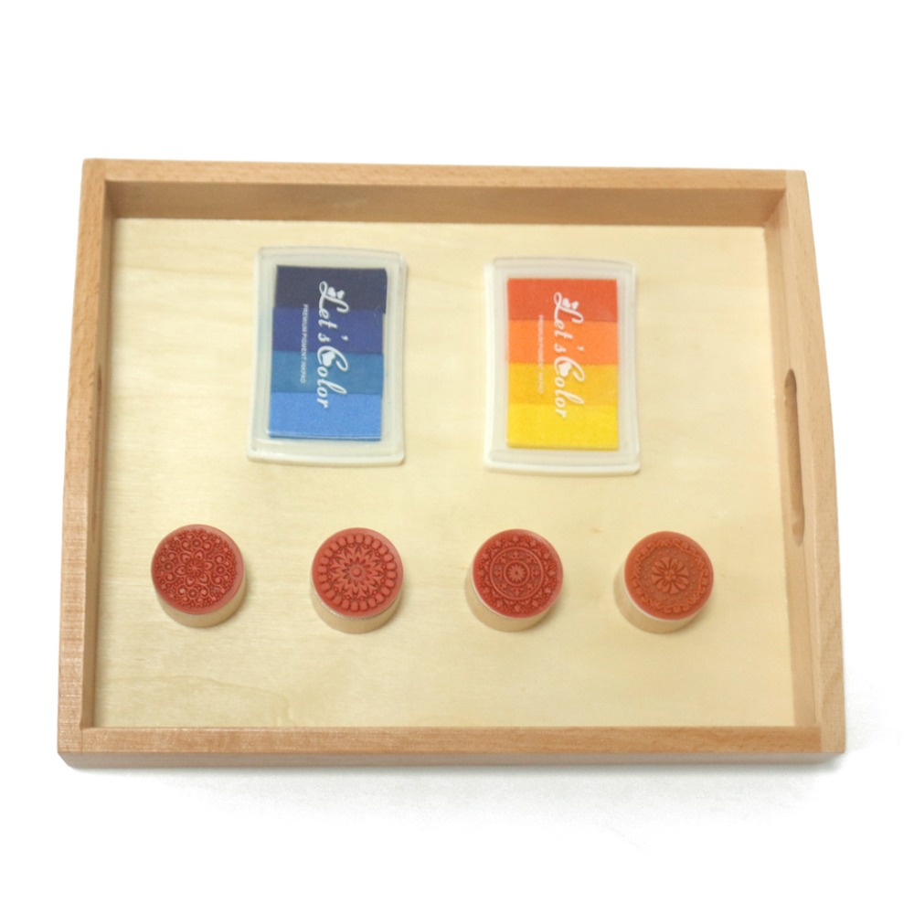 Montessori Practical Life Stamp Inkpad Set Educational Early Learning Wooden Toys For Children Juguete Montessori Mb1564h Outstanding Features Home