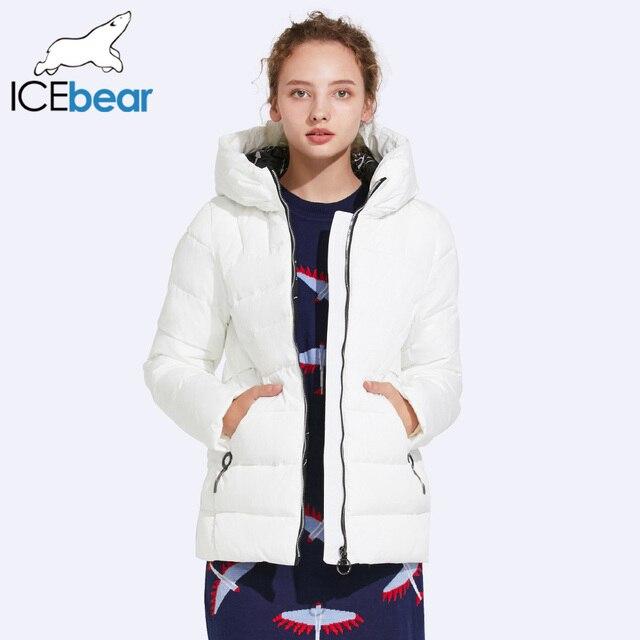 ICEbaer 2017 в сдержанном стиле Короткие зимняя куртка Для женщин практические карманы Дизайн Ленточки украшение карман 17G635