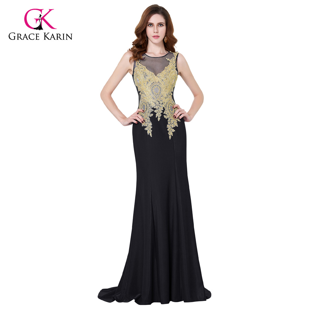 ✅Dubai Arabic Embroidery Dress Grace Karin Black Evening Dresses ...