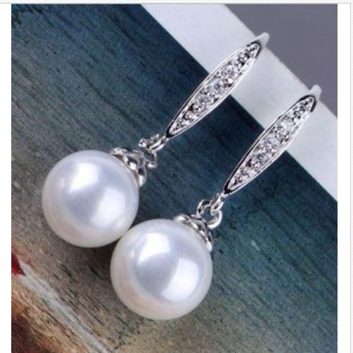 charming a pair 10-11mm AAA++ south sea round white pearl dangle earringscharming a pair 10-11mm AAA++ south sea round white pearl dangle earrings