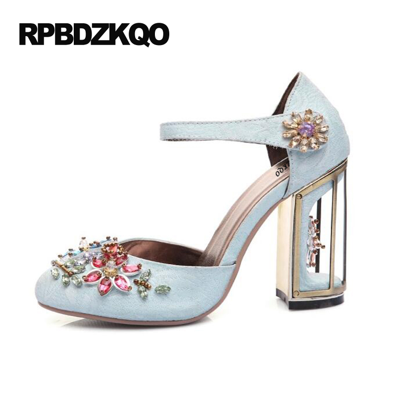 4 34 Small Size Jewel Ankle Strap High Heels Wine Red Thick 2017 Extreme Crystal Round Toe Rhinestone Light Blue Women Shoes4 34 Small Size Jewel Ankle Strap High Heels Wine Red Thick 2017 Extreme Crystal Round Toe Rhinestone Light Blue Women Shoes
