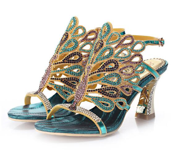 ФОТО Fish Head High-heeled Shoes Rhinestone Party Shoes Rhinestone Sandals High Heels Small Yards 33 Big Yards 44