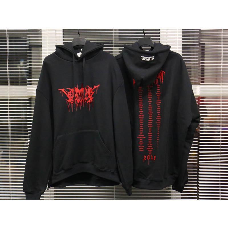 Vetements Hoodies Men Women High-quality Cotton Vetements Hoodie Red Letters Logo Fall Winter Vetements Embroidery Sweatshirts