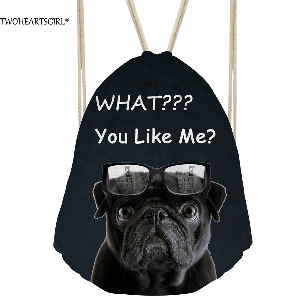 TWOHEARTSGIRL Funny Pug Dog Printed Drawstring Backpack for Women What You Like Me Animal Children Husky School Rugzak Mochila image