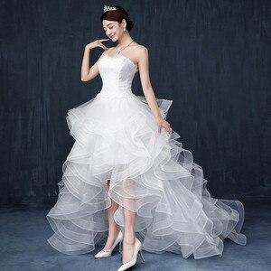 Image 2 - 2019 New Front Short Long Back Strapless Wedding Dress Sweet Bride Dress With Train Customized Wedding Gown Vestido De Noiva L