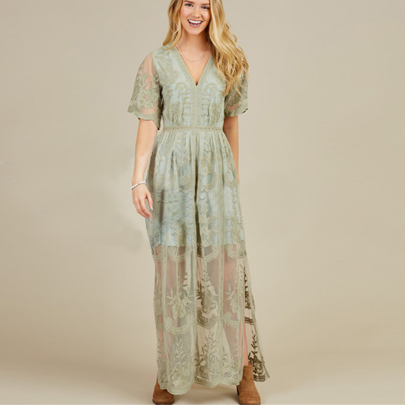 Women 39 s Dress High Quality Plunging neckline Lace short sleeve lace embroidered lace maxi dress for women Boho Dress in Dresses from Women 39 s Clothing