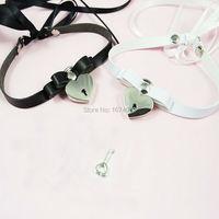 Kawaii Harajuku Handmade Lace up Tied Ribbon Choker Kitten Play Key Lock Lockable Collar Leather Necklace