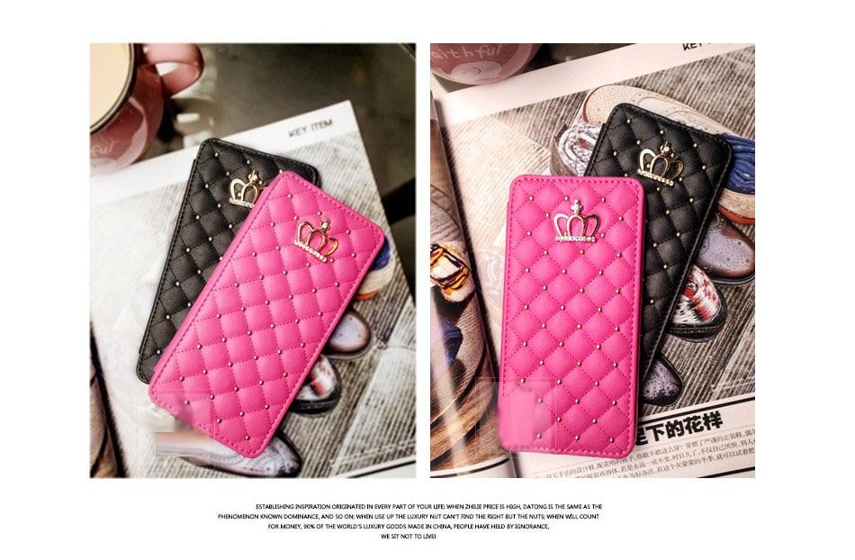 Bling Rivet Crown Flip Wallet Grid Kožené pouzdro pro iphone XS Max - Příslušenství a náhradní díly pro mobilní telefony