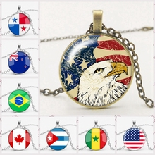 Fashion Multinational Flag Charm Time Gem Glass Necklace European and American National Flag Sign Pendant Necklace