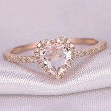 Модные свадебные кольца в форме сердца из розового золота с кристаллами для женщин, роскошные элегантные обручальные кольца с цирконием, ювелирные изделия, вечерние, подарки