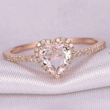 Fashion Rose Gold Crystal Heart Shaped Wedding Rings For Women Luxury Elegant Zircon Engagement Rings Jewelry Party Gifts 1