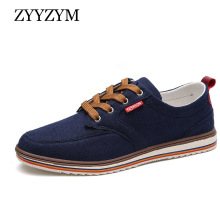 купить ZYYZYM Breathable Men Casual Shoes Sales Lace-Up Style Canvas Flats Shoes Big Size дешево