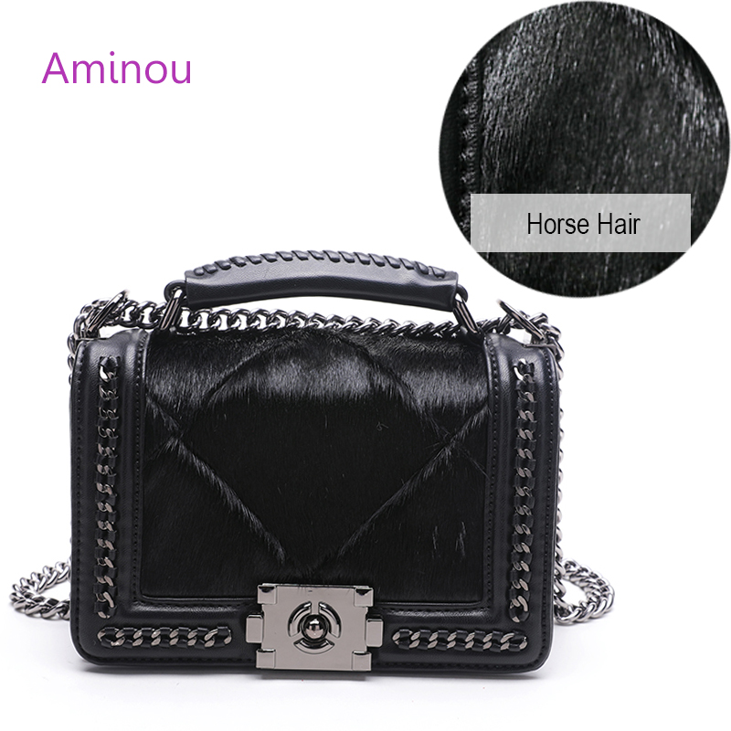 Aminou New Arrival Horse Hair Shoulder Bags For Women Fashion Real Fur Crossbody Handbags High Quality Pu Leather Messenger Bag