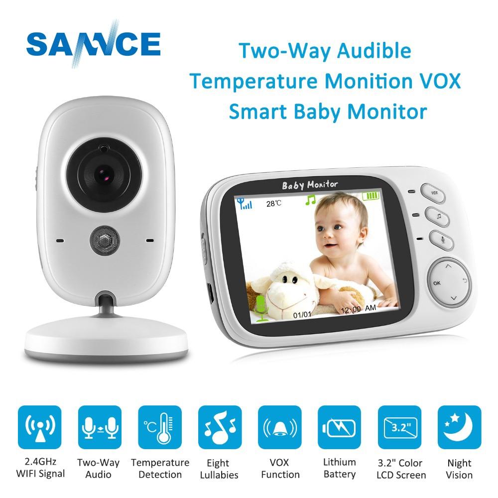 SANNCE 3.2 pouce LCD Bébé Moniteur IR Nuit Vision 2 façon Parler 8 Berceuses Température moniteur vidéo nounou radio Baby-sitter cam