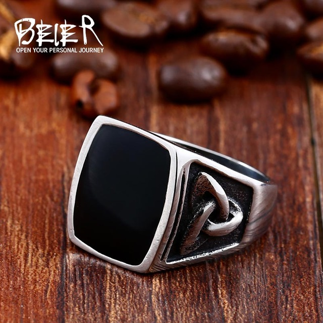 BEIER Cool Men's Retro Egypt Pattern Northern Europe Viking Stainless Steel Ring