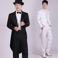 Men S Black Tuxedo Dress Jazz Christmas Magic Show Clothing Wedding Suit Tailcoat Mens Tuxedo Suits