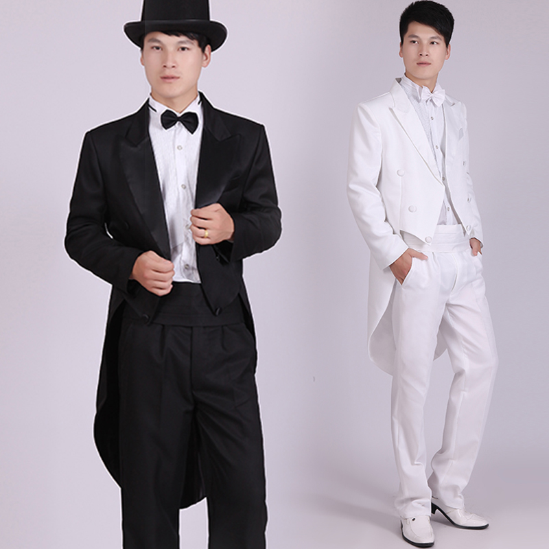 Men's Black Tuxedo Dress Jazz Christmas Magic Show Clothing Wedding Suit Tailcoat Mens Tuxedo Suits Black And White