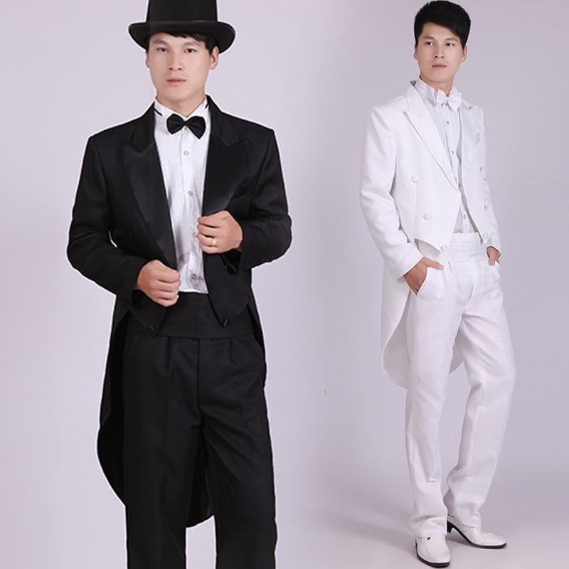 Men's Black Tuxedo Dress Jazz Christmas Magic Show Clothing Wedding Suit Tailcoat Mens Tuxedo Suits Black And White