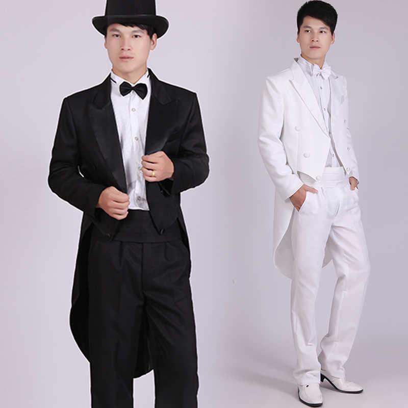 Pria Hitam Tuxedo Dress Jazz Sihir Natal Acara Pakaian Pernikahan Suit Tail End Pria Tuxedo Pakaian Hitam dan Putih