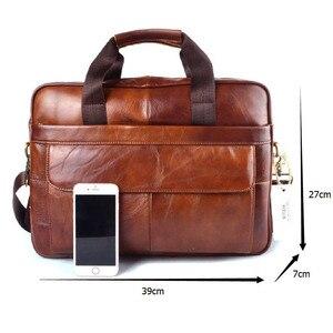 Image 5 - EUMOAN, натуральная кожа, сумка для ноутбука, сумки из воловьей кожи, мужская сумка через плечо, Мужской Дорожный коричневый кожаный портфель