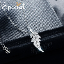 Special Brand Fashion 925 Sterling Silver Maxi Necklace Leaf Necklaces & Pendants AAA Zirconia Choker Gifts for Women S1704N