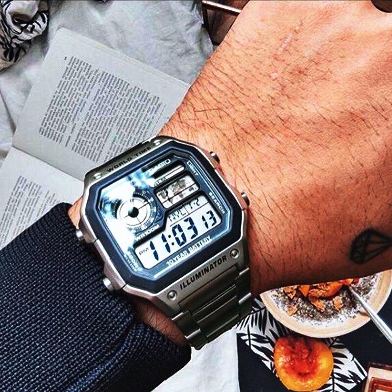 цена на Casio watch Analogue Men's Quartz Sports Watch Fashion Steel Strap Resin Strap Retro Square Watch AE-1200WH AE-1300WH