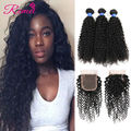 8a Grade Malaysian Curly Hair With Closure 4 pcs/lot Kinky Curly Virgin Hair With Closure Unprocessed Malaysian Virgin Hair