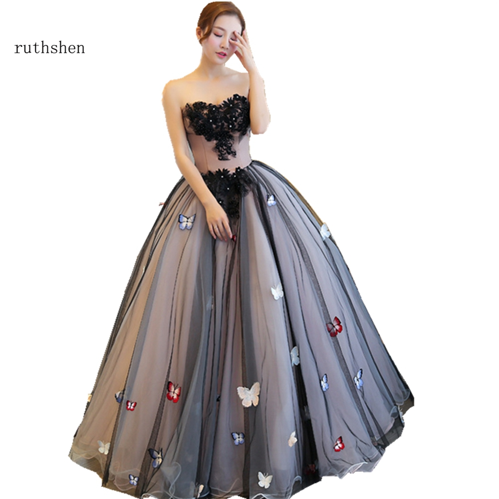 ruthshen 2019 High Quality Women s Black Long Tulle Lace Applique Ball Gown Prom Dresses with