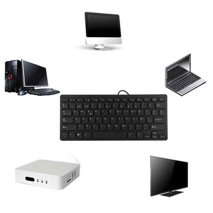 Ультра-тонкая испанская промышленная Бесшумная клавиатура с 78 клавишами, Проводная Мини Портативная бизнес-клавиатура, USB для настольного ноутбука, компьютера