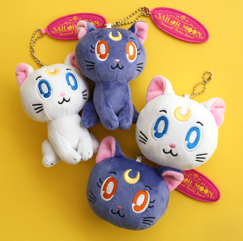 Anime Sailor Moon Luna Cat Cute Plush Doll Keychains Stuffed Toys Key Chain Key Ring Women Girls Bags Charms Pendant Collection