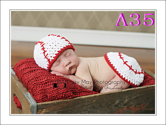 Newborn Photot Props Crochet Baby Hat And Diaper Cover Fireman Outfit Photo Prop