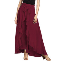 Uzun Siyah Etek Toptan bayan Giyim Rahat Papyon Fırfır Detaylar Pantolon Yüksek Bel Geniş Bacak Pantolon Streetwear Uzun pantolon